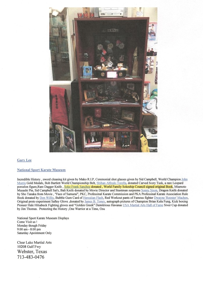 National Sport Karate Museum, Webster Texas displaying WHFSC Book (& WHFSC group  photo - not shown here)