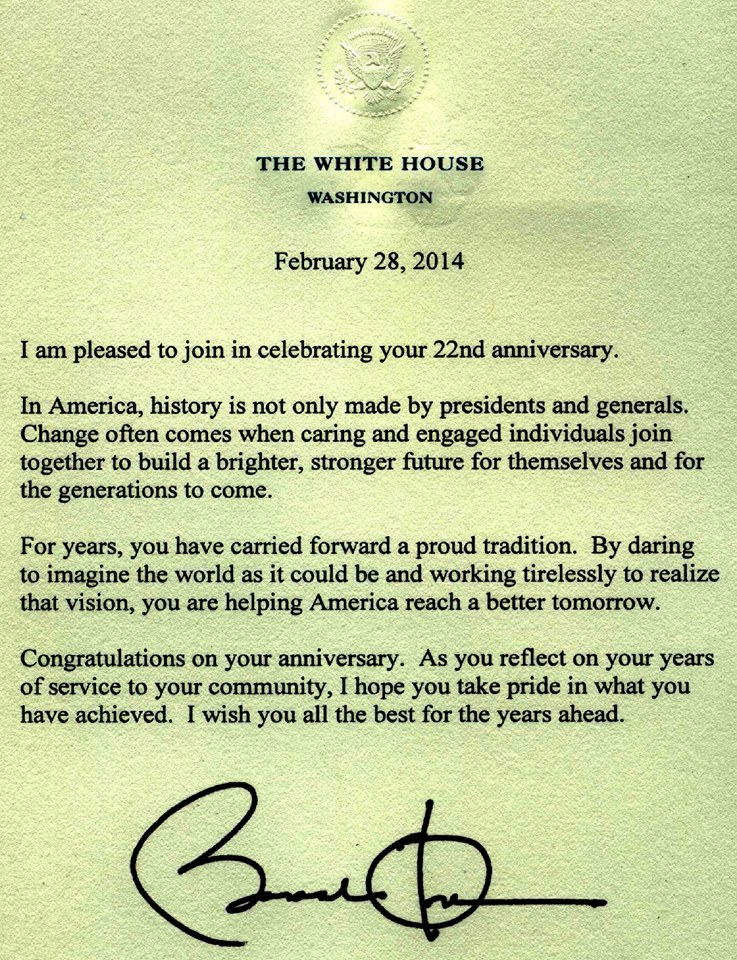 2014 congratulatory letter from the President of the United States